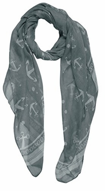 Grey Sheer Chain Border Nautical Sailor Anchor Polka Dot Print Scarf