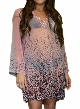 Peach Couture Sheer Multi Print Drape Bathing Suit Cover Up Tunic Top Swim Dress Large