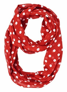 Red Sheer Polka Dot Scarf Infinity Scarf Circle Loop Scarves Small