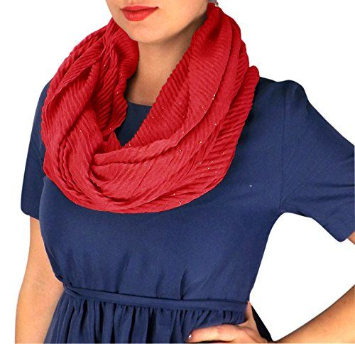 Sheer Sequin Striped Crinkled Pattern Infinity Loop Scarves