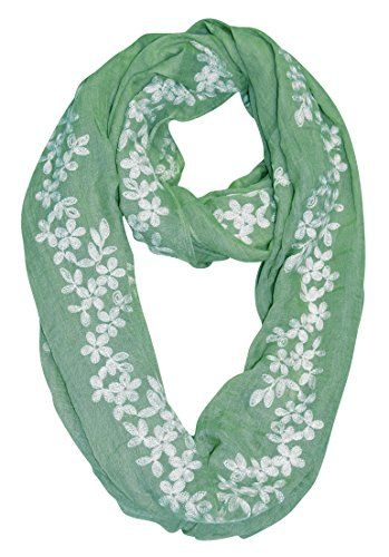 Peach Couture Sheer Soft Cloth Floral Embroidered Flower Infinity Loop Scarf Daisy Mint