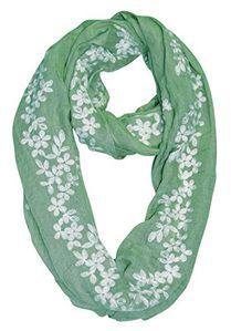 Daisy Mint Sheer Floral Embroidered Flower Infinity Loop Scarf