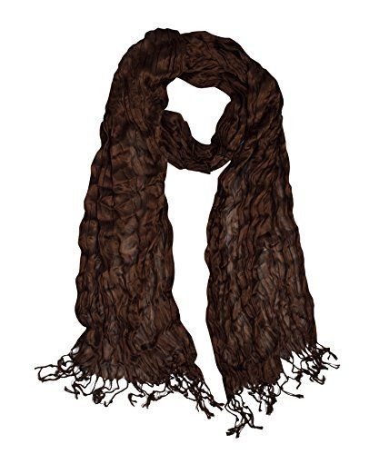 Peach Couture Sheer Solid Color Twisted Crinkle Scarf with Fringes