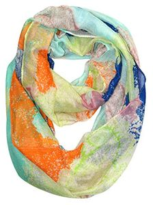 Peach Couture Shimmering Rainbow Paisley Sparkle Infinity loop Scarf