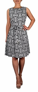 Polka Dot Vintage Retro A Line Sleeveless Casual Belted Dress Large