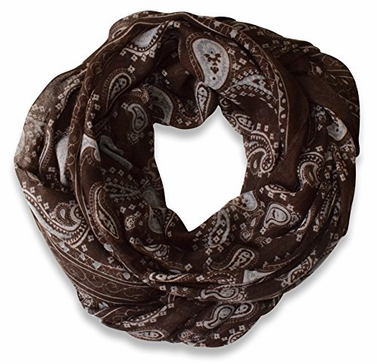 Chocolate Brown Lightweight Paisley Design Infinity Loop Scarf