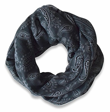Dark Grey Lightweight Paisley Design Infinity Loop Scarf
