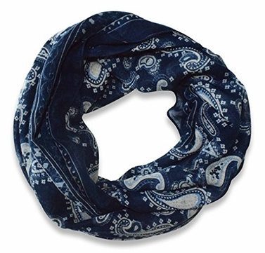 Navy Lightweight Paisley Design Infinity Loop Scarf