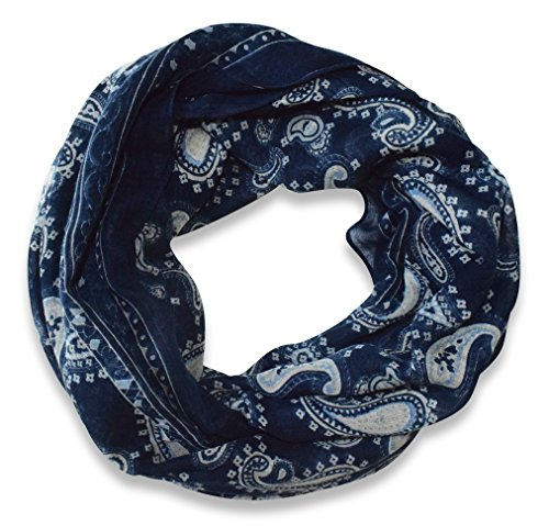 Classic Lightweight Paisley Design Infinity Loop Scarf (Navy)