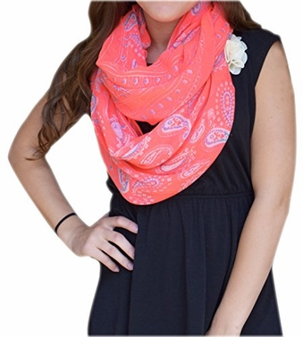 Peach Couture Simple & Classic Lightweight Paisley Design Infinity Loop Scarf Neon Pink