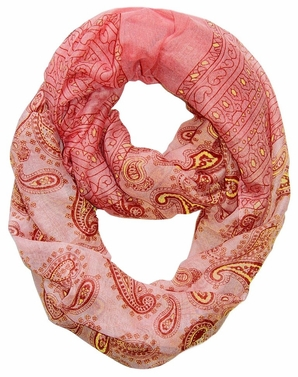 Red Lightweight Paisley Design Infinity Loop Scarf