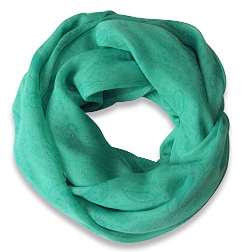 Teal Lightweight Paisley Design Infinity Loop Scarf