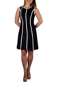 Peach Couture Skater Triple Striped Sleeveless Solid Color Mini Dress Large