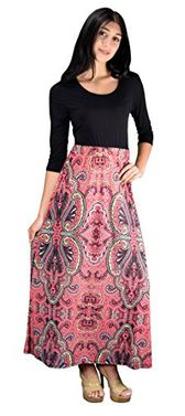 Pink Sleeve Black Paisley Two Toned Self Tie Waist Belt Maxi Dress (Medium)