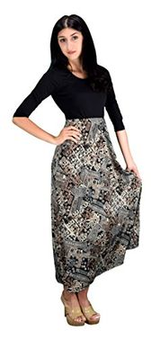 Tan Sleeve Black Paisley Two Toned Self Tie Waist Belt Maxi Dress (Small, )