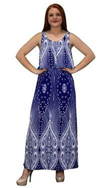 Blue Sleeveless Bohemian Print Scoop Neck Overlay Cocktail Maxi Dress