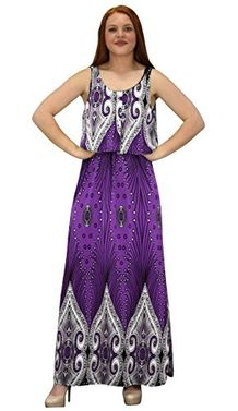 Purple Sleeveless Bohemian Print Scoop Neck Overlay Cocktail Maxi Dress