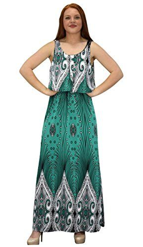 Teal Sleeveless Bohemian Print Scoop Neck Overlay Cocktail Maxi Dress