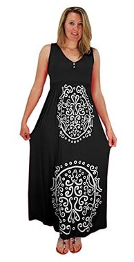 Black Sleeveless Smocked Damask Embossed Long Maxi Dress