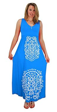 Blue Sleeveless Smocked Damask Embossed Long Maxi Dress Medium