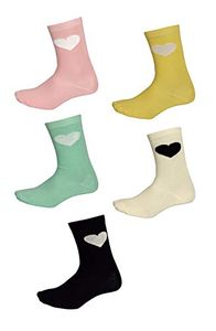 Soft and Cozy Comfortable Cute Hearts Print 5 Pack Crew Socks, Multi