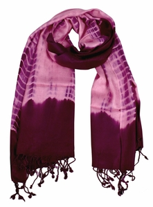 Soft and Silky Vibrant Colored Tie Dye Pashmina Shawl (Plum/Bubble Gum)