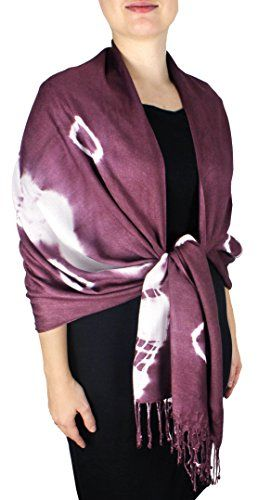 Plum-White Soft and Silky Vibrant Colored Tie Dye Pashmina Shawls in Multiple Colors and Designs