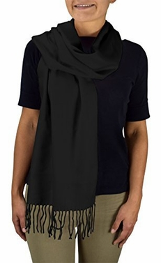 Black Soft and Warm Cashmere Feel Light Unisex Scarves
