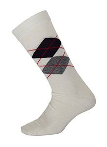 Peach Couture Soft and Warm Comfortable Men's long Argyle Cashmere Socks (Off White)