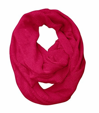 Fuchsia Warm Lightweight Cold Weather Solid Infinity Loop Scarf