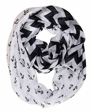 Black Vintage Nautical Anchor Zig Zag Chevron Infinity Scarf Loop