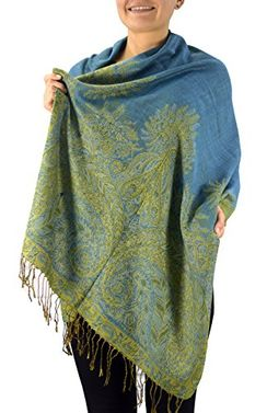 Peach Couture Soft Vintage Persian Paisley Printed Solid Pashmina Shawl Scarf