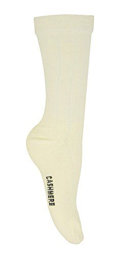 Off White Soft & Warm Comfortable Women's Ribbed Cashmere Wool Socks