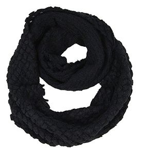 Ebony Warm Crochet Solid Quilted Infinity Loop Circle Scarves