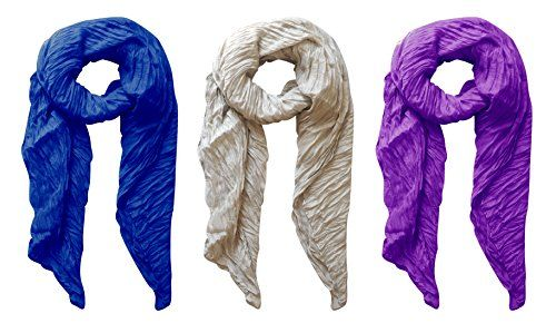 Silver-Purple-Royal Blue Solid Colorful Soft Crinkled Lightweight Versatile Cover Up Shawl Wrap Scarf 3 Pack