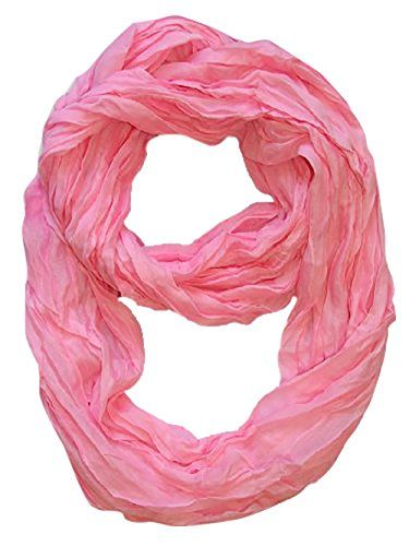 Solid Color Neon Light Crinkled Infinity Loop Scarf