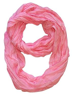 Baby Pink Solid Color Neon Light Crinkled Infinity Loop Scarf