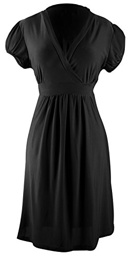 Black Retro Skater Babydoll V Neck Cap Sleeve Short Mini Dress S