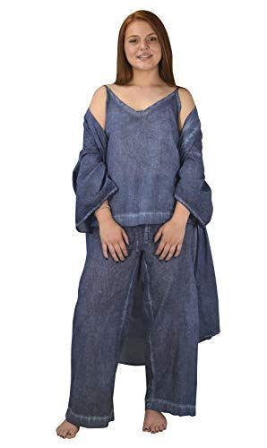 Blue Spa Bathrobe Lightweight Yoga Pajamas Sleepwear Loungewear Full Nightgown Set