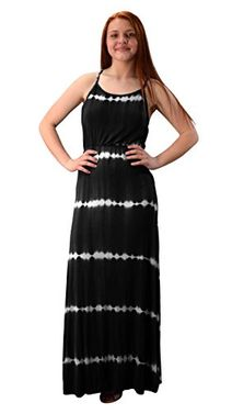 Black Spaghetti Strap Scoop Neck Gathered Waist Tie Dye Summer Maxi Dress