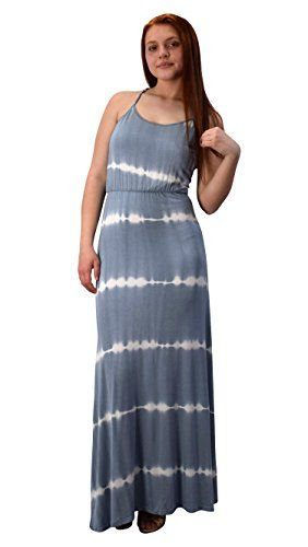 Grey Spaghetti Strap Scoop Neck Gathered Waist Tie Dye Summer Maxi Dress