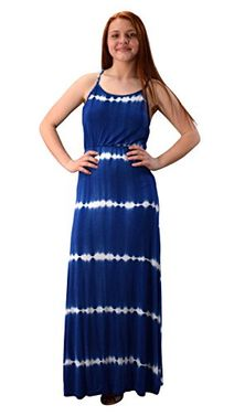 Navy Spaghetti Strap Scoop Neck Gathered Waist Tie Dye Summer Maxi Dress