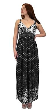 Black Spaghetti Strap Sleeveless Paisley Cocktail Vintage Maxi Dress