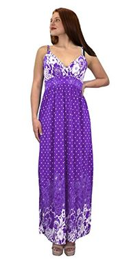 Purple Spaghetti Strap Sleeveless Paisley Cocktail Vintage Maxi Dress