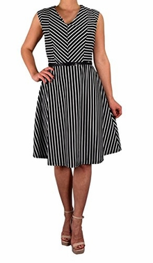 White Black Striped A-Line Belted Vintage Inspired Retro Dress