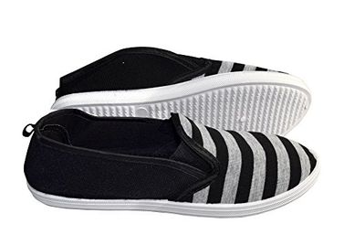Black Grey Striped Casual Summer Breathable Tennis Slip On Loafer Sneaker Shoes