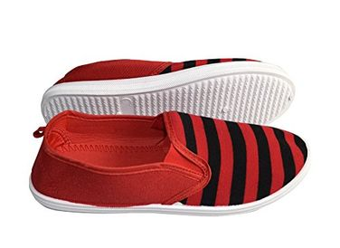 Red Black Striped Casual Summer Breathable Tennis Slip On Loafer Sneaker Shoes