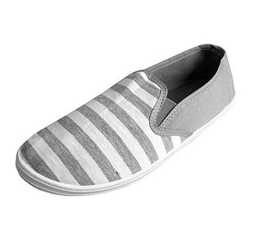 White Grey Striped Casual Summer Breathable Tennis Slip On Loafer Sneaker Shoes