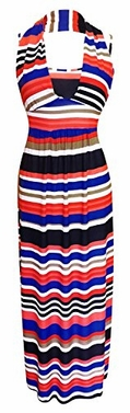 Red Blue Striped Halter Backless Vacation Maxi Dress XXL