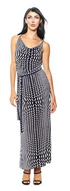 Navy Striped Metal Embellished Sleeveless Belted Maxi Dress